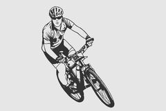 Cycling pose in black and white silhouette. Cycling sign. vector illustration