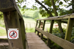 Cycling Prohibited. No Cycling sign on a footpath bridge Royalty Free Stock Photos