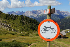 Cycling prohibited in the mountains Stock Image