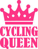 Cycling Queen. With pink crown Royalty Free Stock Photography