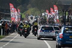 Tour of Flanders cycling race. Cycling race around flanders fields, tour of flanders Royalty Free Stock Photo