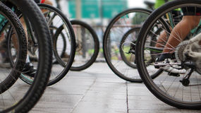 Cycling race, biking abstract. Cycling race, car free green day biking abstract Stock Images