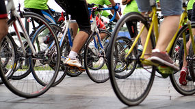 Cycling race, biking abstract. Cycling race, car free green day biking abstract Royalty Free Stock Images