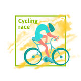Cycling race, poster template. A man rides a Bicycle, Abstract watercolor spot on the background. Vector illustration Royalty Free Stock Images
