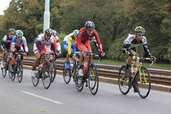 Cycling race in Prague. The spurt at Prague in Bohemia cycling tour race held on 21.9.2013 royalty free stock photo