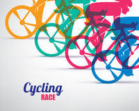 Cycling race stylized background. Cyclist vector silhouettes royalty free illustration