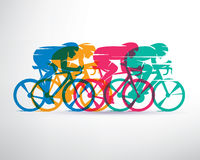 Cycling race stylized background. Cyclist vector silhouettes Royalty Free Stock Photo