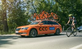 Cycling race support vehicle, Tenczynek, Poland Stock Image