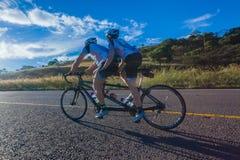 Cycling Race Tandem Man Women Hill Climb Royalty Free Stock Photo