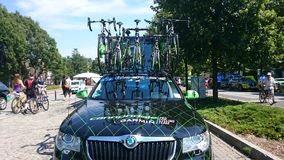 Cycling race Tour de Pologne in the Czestochowa city. Royalty Free Stock Photos