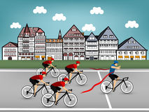 Cycling race in town. Beautiful graphic design of cycling race in town Royalty Free Stock Photos