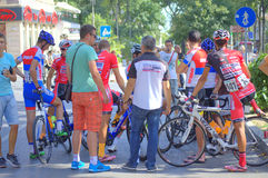 Cycling racers relaxing Royalty Free Stock Images