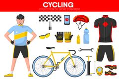 Cycling races sport equipment cycler garment uniform bicycle accessory vector icons set Stock Photos