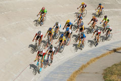 Cycling racing on velodrome Stock Images
