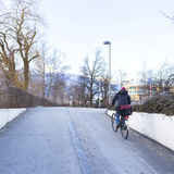 Cycling on the riverside Stock Photography