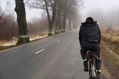Cycling, road, fog, trees, road, morning, early Royalty Free Stock Image