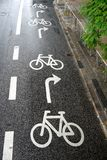 Cycling: road markings bike lane stock photography
