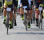 Cycling road race. Cyclists with racing bikes during the cycling road race Stock Photography