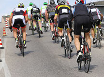Cycling road race. Cyclists with racing bikes during the cycling road race Stock Images