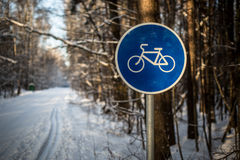 Cycling road sign. Blue cycling road sign in the park Royalty Free Stock Images