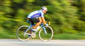 Cycling on roads with speed Royalty Free Stock Images