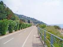 Cycling route in the city of San Remo, Italy.  royalty free stock images