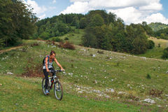 Cycling in the Rural Carpathians Royalty Free Stock Photo