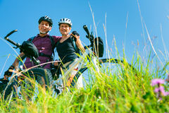 Cycling Senior Couple Stock Photography