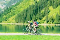 Cycling Seniors in Austria Royalty Free Stock Photo