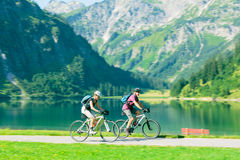 Cycling Seniors in Austria Stock Image