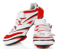 Cycling shoes. Pair road cycling shoes on white background stock photos
