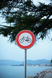 Cycling sign. On the path at the side of Lake Garda outside Bardolino Royalty Free Stock Photography