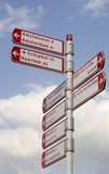 Cycling sign posts Royalty Free Stock Photos