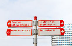 Cycling signs in The Hague, Netherlands Stock Photos