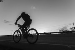 Cycling Silhouette Black White Royalty Free Stock Photography