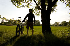 Cycling silhouette and success Stock Image