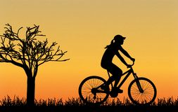 Cycling silhouette vector royalty free illustration