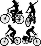 Cycling silhouettes Stock Photo