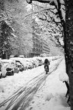 Cycling in the snow Stock Photography