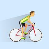 Cycling sport bicycle man, road bike riders flat Royalty Free Stock Photos