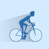 Cycling sport bicycle man silhouette, road bike Stock Photography