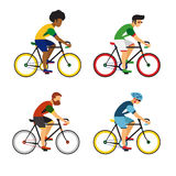 Cycling sport bicycle men icons set, road bike riders from different countries flat  illustration. Royalty Free Stock Image