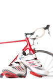 Cycling and sport Concept. Sport Cycling Shoes with Cleats and Covers Royalty Free Stock Image