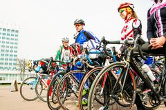 Cycling Sportsmen at the opening of the season in Gomel. Belarus. Gomel, Belarus - April 10, 2016: Sportsmen bicycling in Lenin Square in the city of Gomel Royalty Free Stock Photography