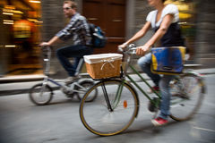 Cycling through the streets of Florence, Italy Royalty Free Stock Images