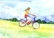 Cycling on a summer day. Hand painted  Watercolor Illustration «Cycling on a summer day Royalty Free Stock Images