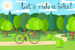 Cycling on a sunny day in the forest. Joy to ride a bike. Let's ride a bike! Royalty Free Stock Photos