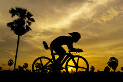 Cycling on sunset Royalty Free Stock Images