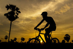 Cycling on sunset Stock Photos