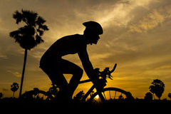 Cycling on sunset Royalty Free Stock Photo